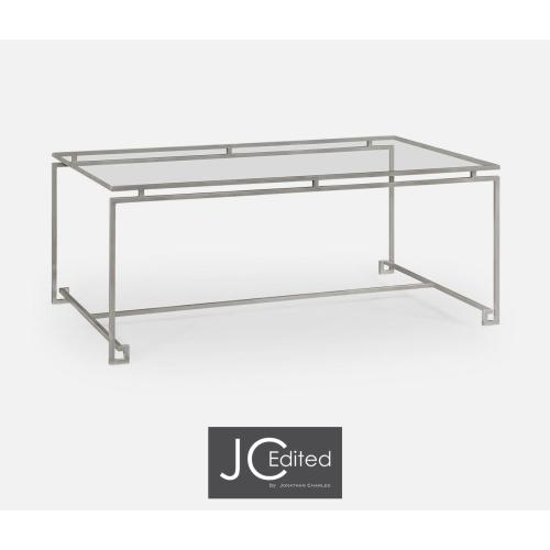 Silver Iron Rectangular Coffee Table with A Clear Glass Top