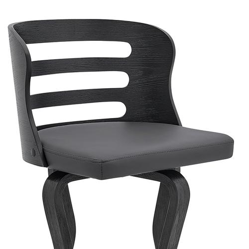 """Verne 30"""" Swivel Gray Faux Leather and Black Wood Bar Stool"""