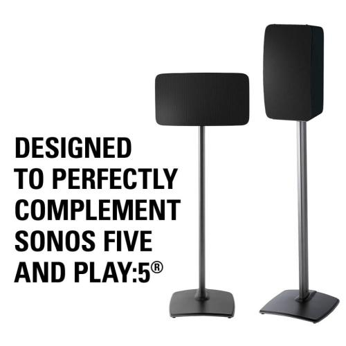 Black Wireless Speaker Stands designed for Sonos Play:5