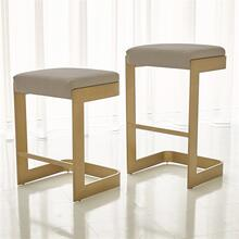 Regan Low Bar Stool w/Ivory Leather-Antique Brass