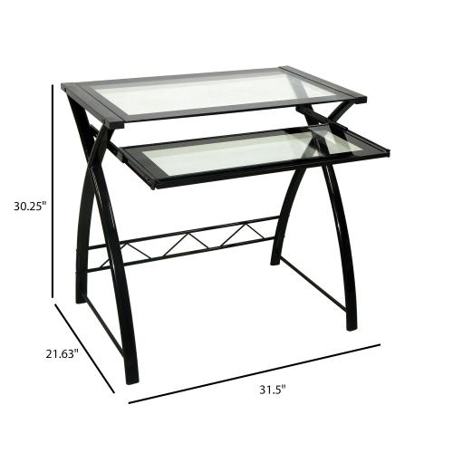 Computer Desk with Keyboard Tray, Black