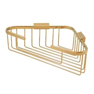 "Wire Basket, 13-1/4"" x 10-1/4"" Triangular Corner - PVD Polished Brass Product Image"