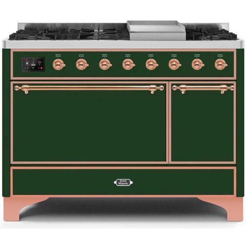 Product Image - Majestic II 48 Inch Dual Fuel Liquid Propane Freestanding Range in Emerald Green with Copper Trim