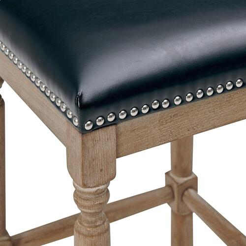 Ernie KD Bonded Leather Counter Stool Drift wood Legs, Black
