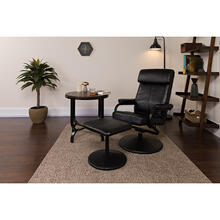 Contemporary Multi-Position Headrest Recliner and Ottoman with Wrapped Base in Black LeatherSoft