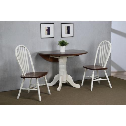 Round Drop Leaf Dining Set w/Arrowback Chairs (3 Piece)