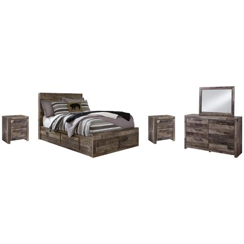 Full Panel Bed With 6 Storage Drawers With Mirrored Dresser and 2 Nightstands