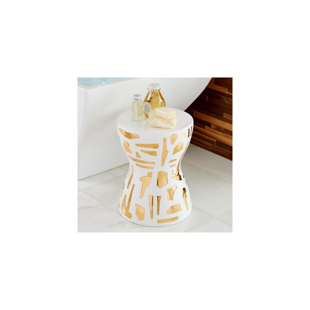 Abstract Stool-Gold/White