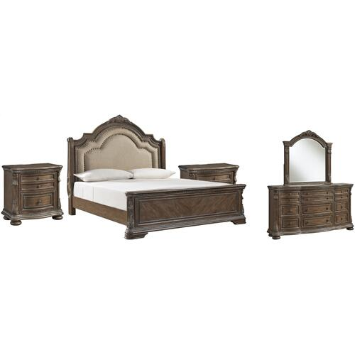 King Upholstered Sleigh Bed With Mirrored Dresser and 2 Nightstands