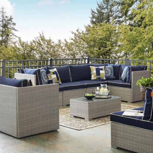 Repose 7 Piece Outdoor Patio Sectional Set in Light Gray Navy