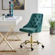 Distinct Tufted Swivel Performance Velvet Office Chair in Gold Teal