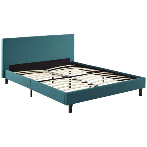 Anya Full Fabric Bed in Teal