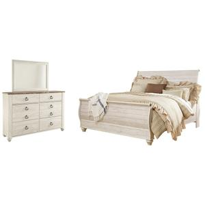 King Sleigh Bed With Mirrored Dresser