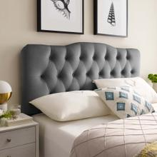 Annabel Queen Diamond Tufted Performance Velvet Headboard in Gray