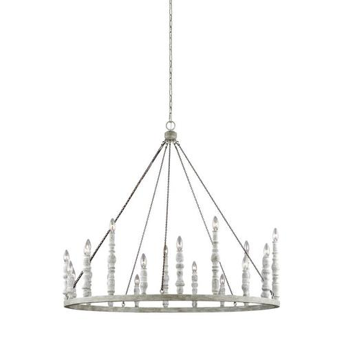 Norridge Large Chandelier Distressed Fence Board / Distressed White