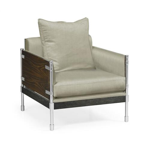Campaign Style Dark Santos Rosewood Sofa Chair, Upholstered in MAZO
