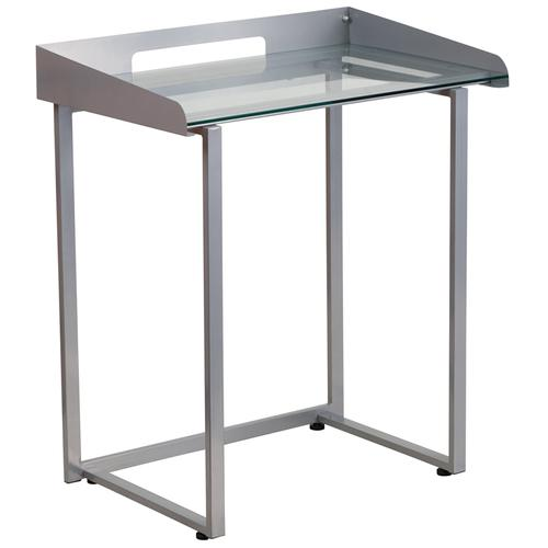 Flash Furniture - Contemporary Clear Tempered Glass Desk with Raised Cable Management Border and Silver Metal Frame