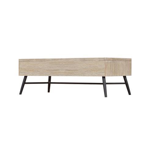 Emerald Home Nova Cocktail Table Wood W/2 Drawers Sterling Gray-black Metal Legs T700-00