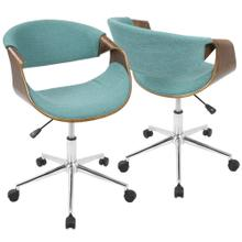 See Details - Curvo Office Chair - Chrome, Walnut Wood, Teal Fabric