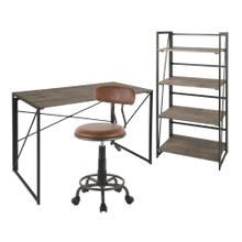 Dakota Desk - Bookcase - Swift Task Chair Set - Black Metal, Brown Wood, Antique Metal, Brown Pu