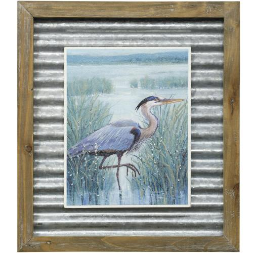 Style Craft - WETLAND HERON I  16in X 14in  Made in the USA  Textured Framed Print