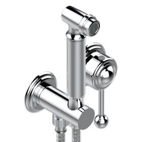 Handheld spray bidet with mixing valve, hose, elbow/hook