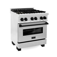 """View Product - ZLINE Autograph Edition 30"""" 4.0 cu. ft. Dual Fuel Range with Gas Stove and Electric Oven in DuraSnow® Stainless Steel with Accents (RASZ-SN-30) [Accent: Matte Black]"""