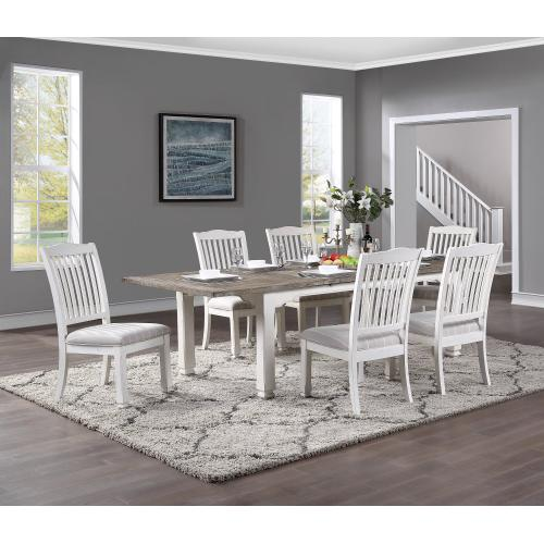 "Emerald Home Dining Table W/ 28"" Butterfly Leaf, Antique White D727-10-09"