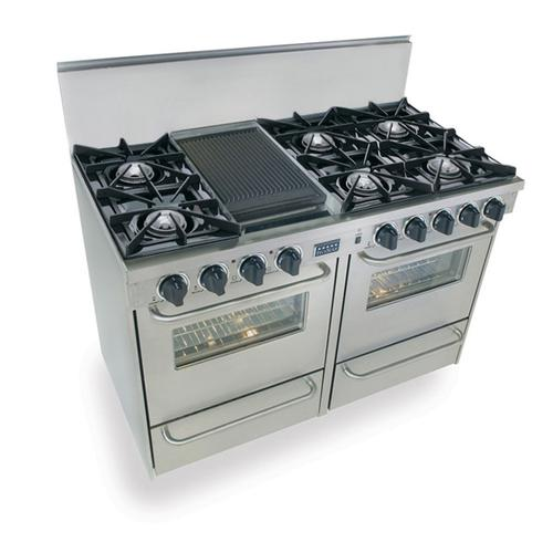 """Five Star - 48"""" All Gas Range, Open Burners, Stainless Steel"""