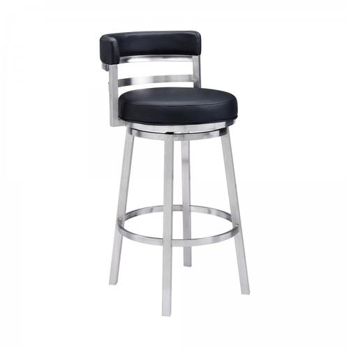 """Armen Living - Madrid Contemporary 26"""" Counter Height Barstool in Brushed Stainless Steel Finish and Black Faux Leather"""