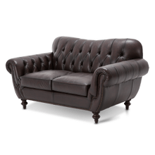 Charterhse Leather Love Seat in Merlot 62-Mahogany