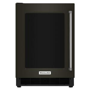 "KitchenAid24"" Undercounter Refrigerator with Glass Door and Metal Trim Shelves - Black Stainless Steel with PrintShield™ Finish"
