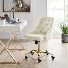 Distinct Tufted Swivel Performance Velvet Office Chair in Gold Ivory
