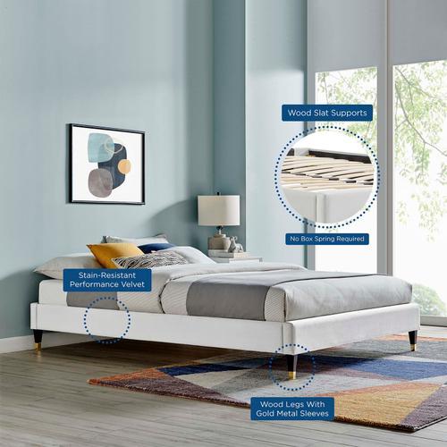 Harlow Twin Performance Velvet Platform Bed Frame in Light Gray