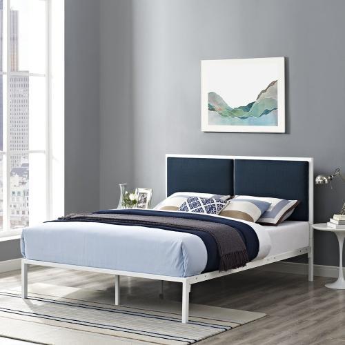 Della King Fabric Bed in White Azure