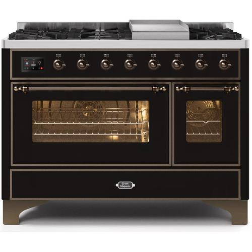 Majestic II 48 Inch Dual Fuel Natural Gas Freestanding Range in Glossy Black with Bronze Trim