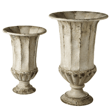 See Details - Distressed Ivory Urn Planters (2 pc. set)