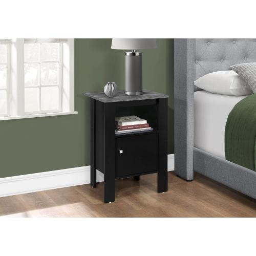Gallery - ACCENT TABLE - BLACK / GREY TOP NIGHT STAND WITH STORAGE