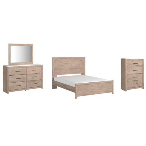 Gallery - Queen Panel Bed With Mirrored Dresser and Chest