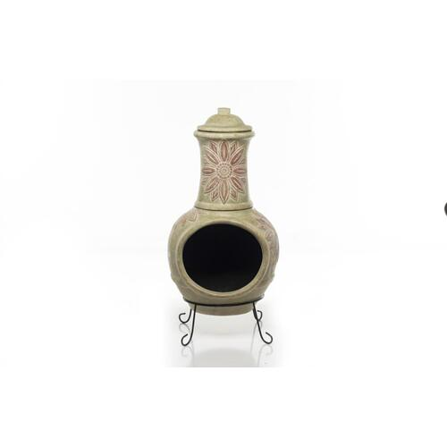 Earthenware 2 pc Large Girasole Chiminea w/ lid + stand