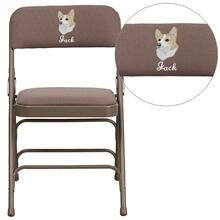 Embroidered HERCULES Series Curved Triple Braced & Quad Hinged Beige Fabric Upholstered Metal Folding Chair