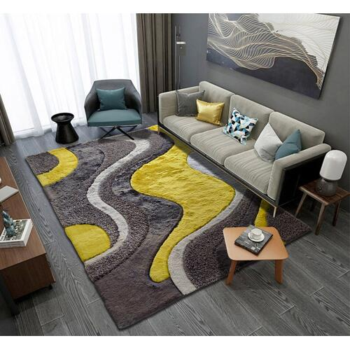 "Designer Shag S.V.D. 29 Area Rug by Rug Factory Plus - 7'6"" x 10'3"" / Yellow"
