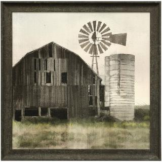GRANPAS OLD BARN  27in w. X 27in ht.  Farmhouse Textured Framed Print  Made in USA