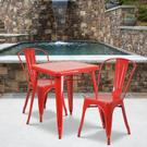 "Commercial Grade 23.75"" Square Red Metal Indoor-Outdoor Table Set with 2 Stack Chairs Product Image"