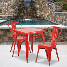 "Commercial Grade 23.75"" Square Red Metal Indoor-Outdoor Table Set with 2 Stack Chairs"