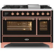 Majestic II 48 Inch Dual Fuel Liquid Propane Freestanding Range in Glossy Black with Copper Trim