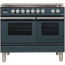 Professional Plus 40 Inch Dual Fuel Liquid Propane Freestanding Range in Blue Grey with Chrome Trim