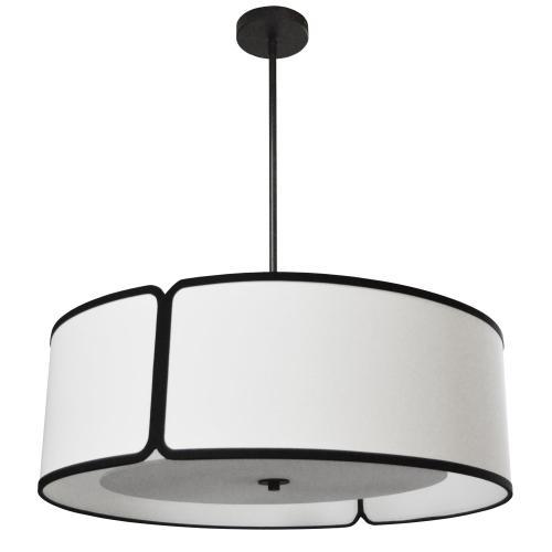 Product Image - 4lt Notched Drum Pendant Bk, Wh Shade & Diffuser