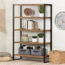 5 Fixed Shelves - Shelving Unit - Rustic Bamboo