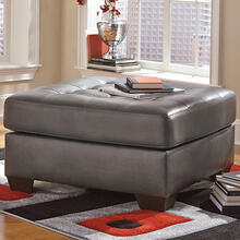 Signature Design by Ashley Alliston Oversized Accent Ottoman in Gray Faux Leather